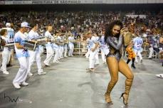 Valeska Reis, Rainha de Bateria, durante o ensaio técnico para o Carnaval 2018 da escola de samba Império de Casa Verde, no Sambódromo do Anhembi em São Paulo (SP), neste domingo (28). Os desfiles do grupo especial acontecem nos dias 09 e 10 de fevereiro.