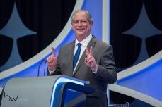 Ciro Gomes (PDT), durante o debate das eleições 2018, promovido pelo Jornal Folha de São Paulo, UOL e SBT, na sede da emissora em São Paulo (SP), nesta quarta feira (26).