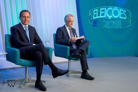 João Doria (PSDB) e Márcio França (PSB), durante debate das eleições 2018 promovido pela TV Globo, na sede da emissora, na zona sul de São Paulo, nesta terça feira (02).