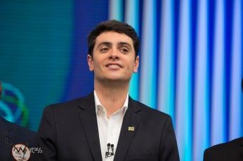 Rodrigo Tavares (PRTB), durante debate das eleições 2018 promovido pela TV Globo, na sede da emissora, na zona sul de São Paulo, nesta terça feira (02).