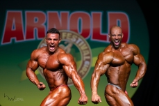 RAFAEL BRANDAO, of Brazil, (letf) 2nd place and JUAN MOREL, winner of the bodybuilding competiton during the 2019 Arnold Classic South America, the largest sports nutrition fair in Latin America, in Sao Paulo, Brazil.