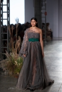Model presents creation by Fabiana Milazzo during the Sao Paulo Fashion Week (SPFW), N48 edition, in Sao Paulo, Brazil.