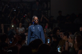 Model presents creation by Modem during the Sao Paulo Fashion Week (SPFW), N48 edition, in Sao Paulo, Brazil.